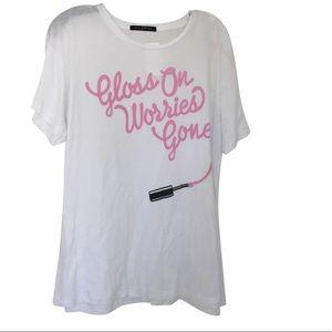 Gloss On Worries Gone White Wildfox Top Tee Shirt